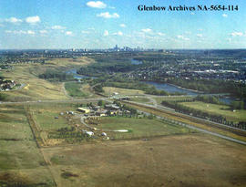 Aerial view of  Alberta Forestry and helipad, on the outskirts of Calgary, Alberta.