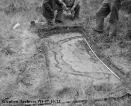 Cache pit, Cluny Earthlodge Village archaeological excavation, Blackfoot (Siksika) reserve, south...