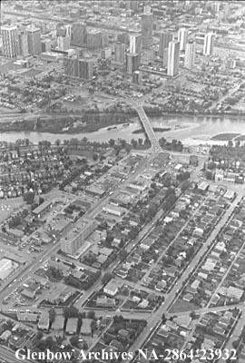 Aerial view of the Louise Bridge area, Calgary, Alberta.