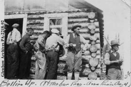 Men stand in line for a drink, at the Northwest Territories Prospectors' Association annual ...
