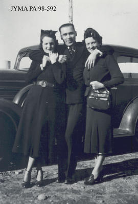 Mr. Bourgois and two unknown women, Jasper, Alberta.