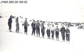 Ski Group near the Maligne Lake Chalet, Jasper National Park, AB