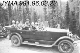 [Group in automobile] Jasper National Park, Alberta