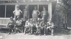 Group of Brewster Cowboys at Maligne Lake Chalet, Jasper National Park, Alberta.