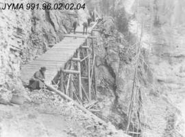 [Construction of trestle bridge along Berg Lake trail] Mount Robson, British Columbia