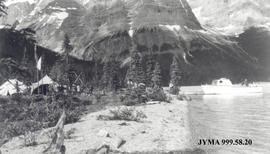 Alpine Club of Canada Camp at the end of Maligne Lake, Jasper National Park, Alberta.
