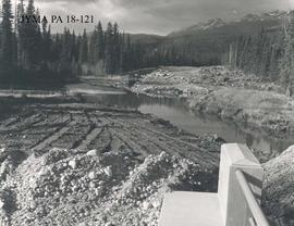 Bridge construction, Jasper National Park, Alberta.