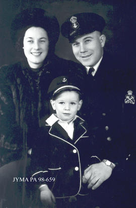 West Knutson (in military uniform) with his family, Jasper, Alberta.