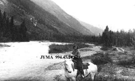 Eleanor Broadhead on horseback, British Columbia.