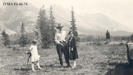Abe Reimer, Mrs. Johnson and Eunice Carlson, Jasper, Alberta.