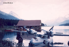 Float Plane on Maligne Lake, Jasper National Park, Alberta.