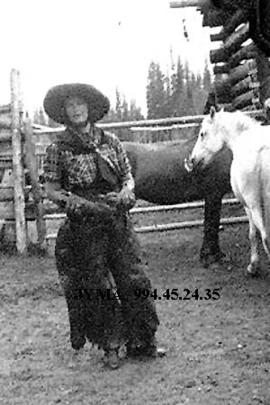 Eleanor Broadhead at the Mount Robson Dude Ranch, British Columbia.
