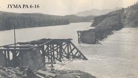 Construction of the Grand Trunk Pacific railroad bridge at Dyke (now Entrance), Alberta.