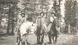 Group on horseback in Jasper National Park, Alberta.