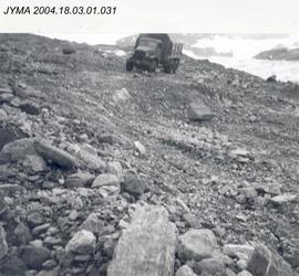 A 6 x 6 military truck on the Sasktchewan Glacier, Columbia Icefield, AB