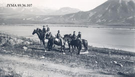 Unidentified riders and horses, Jasper National Park, Alberta.