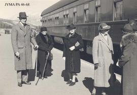 Visit of  State, group at the train station, Jasper, Alberta.