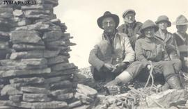Curly Phillips with a group of unknown climbers, Jasper National Park, Alberta.