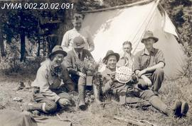 Group at camp, Mount Robson Provincial Park, BC