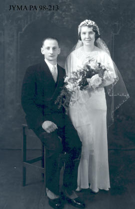 Mr. and Mrs. Tony Jarrell [Jannell] on their wedding day.