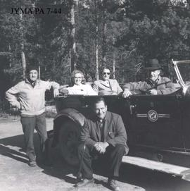 Group in Fred Brewster's Rocky Mountain Camp automobile, Jasper National Park, Alberta.