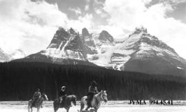 Riders at Dais or Blackmonks Mountain, Jasper National Park, Alberta.