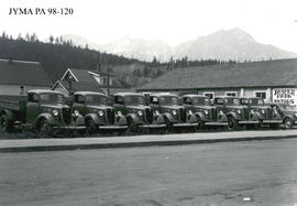 Jasper National Park trucks at Jasper Park Motors Garage, Jasper, Alberta.