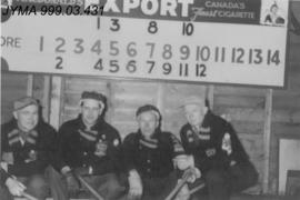 Curlers at the old Jasper Curling Rink, Jasper, Alberta