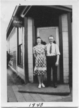 Ann and Max Jampolsky in front of the Corner Lunch.