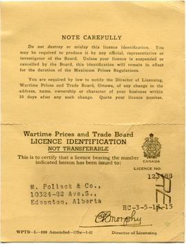 Wartime Prices and Trade Board Licence.