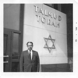 Hymie Baltzan outside the Edmonton Talmud Torah.