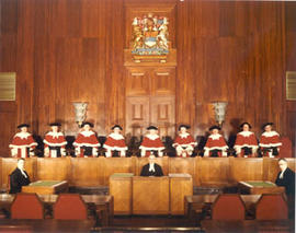 Justices of the Supreme Court of Canada in the courtroom, Ottawa, Ontario.