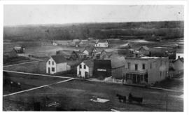 Aerial view of Millet, Alberta looking west-south-west from intersection of 50 Street and 49 Avenue.