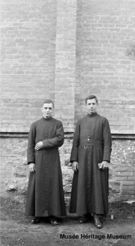 Seminarians at the side of St. Joachim church in Edmonton, Alberta
