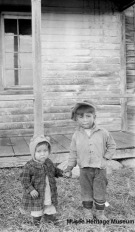 Children in front of Le Goff, Cold Lake school, Alberta