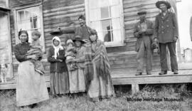 People in front of Le Goff, Cold Lake school, Alberta