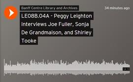 Peggy Leighton interviews Joe Fuller, Sonja De Grandmaison, and Shirley Tooke