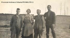 Three men and a woman in Lobstick, Alberta