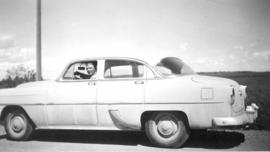 Laurence Banting in his car, Red Deer