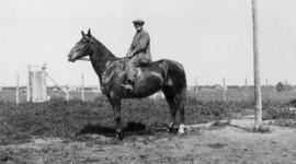 Laurence Banting on horseback, Red Deer