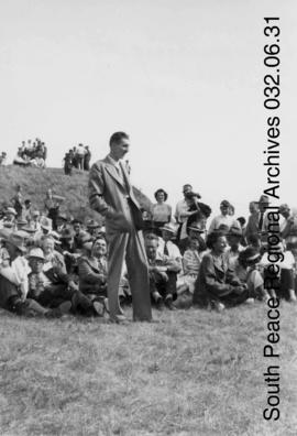 Speaker at Kleskun Hills Geological Picnic, Alberta.