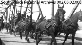Stagecoach In Parade, Opening of Smoky River Bridge