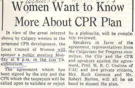 Women Want to Know More About CPR Plan