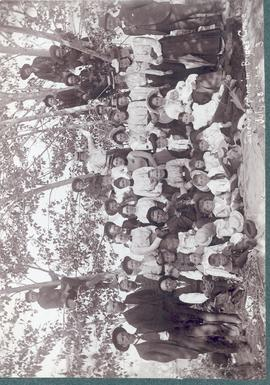 Souvenir photo of picnic at Bryces Grove, Davisburg, Alberta, in July 28, 1902.