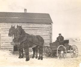 E A Daggett arriving at Sam Smith's cabin for dinner in a horse-drawn cart, Millarville, AB.
