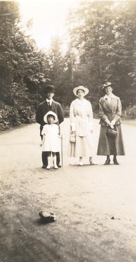 Ralph Daggett, his wife and child, and Hazel Newton, in Stanley Park, Vancouver