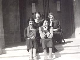 Group of 4 young women on Normal School Steps, Calgary, AB.