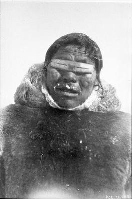 Portait of Inuit Man at Villiage Near Rae Strait.
