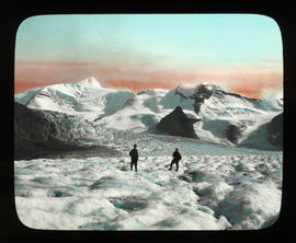 [Conrad Kain and unidentified climber near the Extinguisher Tower on the Upper Robson Glacier]