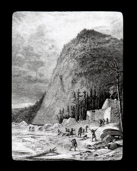 [Fur trade illustration - First Nations arriving at fur post]